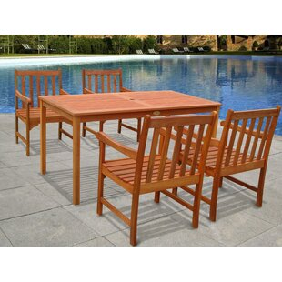 Vifah Outdoor Wood English Garden 5-Piece Dining Set