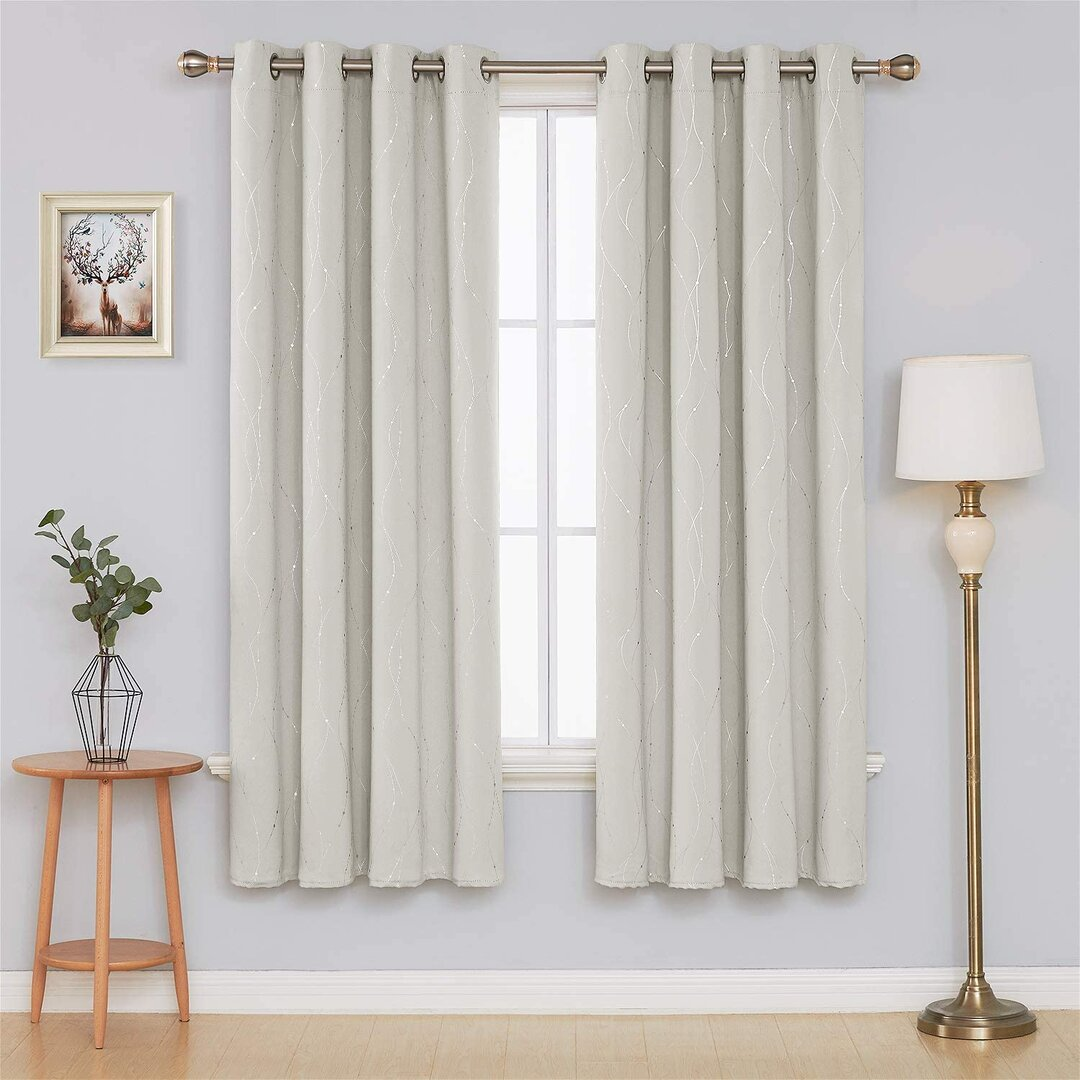 Senath Dotted Line Foil Printed Blackout Thermal Curtains