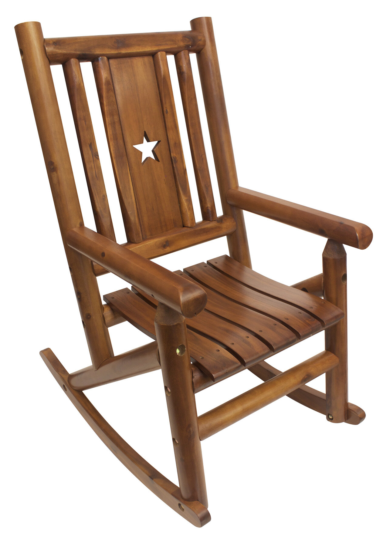 LeighCountry Amber Log Star Single Porch Rocking Chair | Wayfair