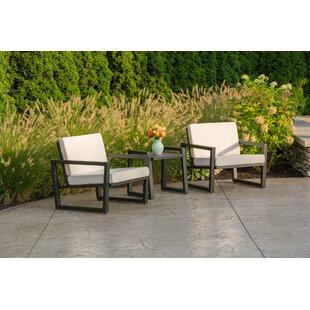 Elan Furniture Vero 3 Piece Sunbrella Conversation Set with Cushions
