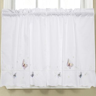 Etonnant Monarch Embroidered Butterfly Kitchen Tier Curtain (Set Of 2)