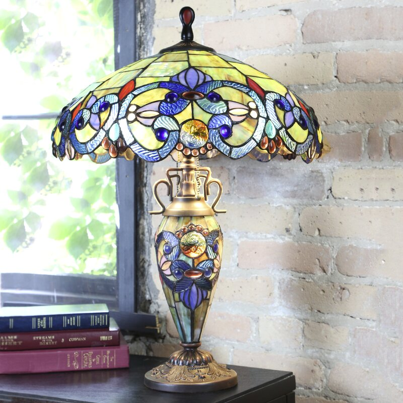 63644ee792e8 Creel Victorian Tiffany Style Stained Glass Double Lit 26 Table Lamp