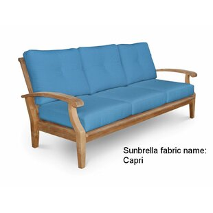 Lowery Teak Patio Sofa with Sunbrella Cushions by Rosecliff Heights
