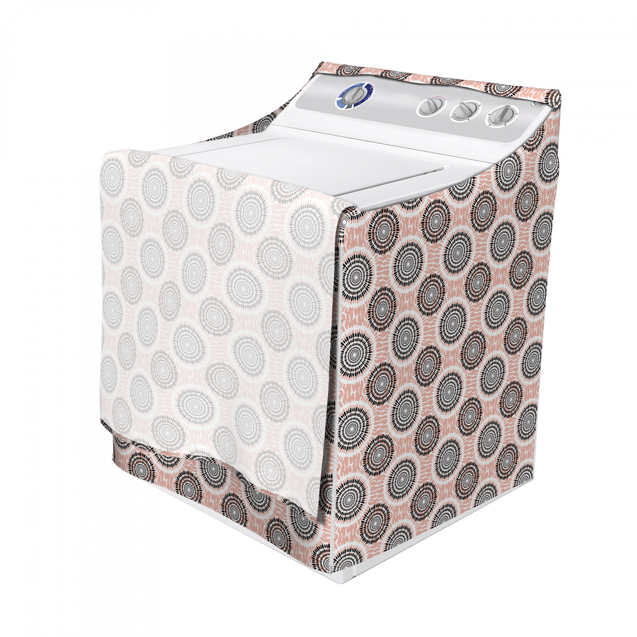 East Urban Home Symmetrical Circular Shapes Pattern Abstract Background Soft Color Image Print Washing Machine Cover Wayfair