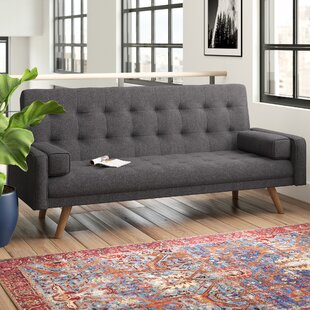 Hollywood Mid-Century Biscuit Tufted Click Futon and Mattress
