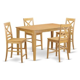 Smyrna 5 Piece Counter Height Pub Table Set by Charlton Home New