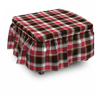 Checkered Striped Old Fashioned 2 Piece Box Cushion Ottoman Slipcover Set By East Urban Home