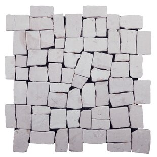 Blocks Random Sized Natural Stone Pebble Tile in White