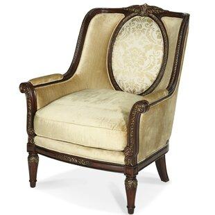 Michael Amini Imperial Court Wood Trim Armchair