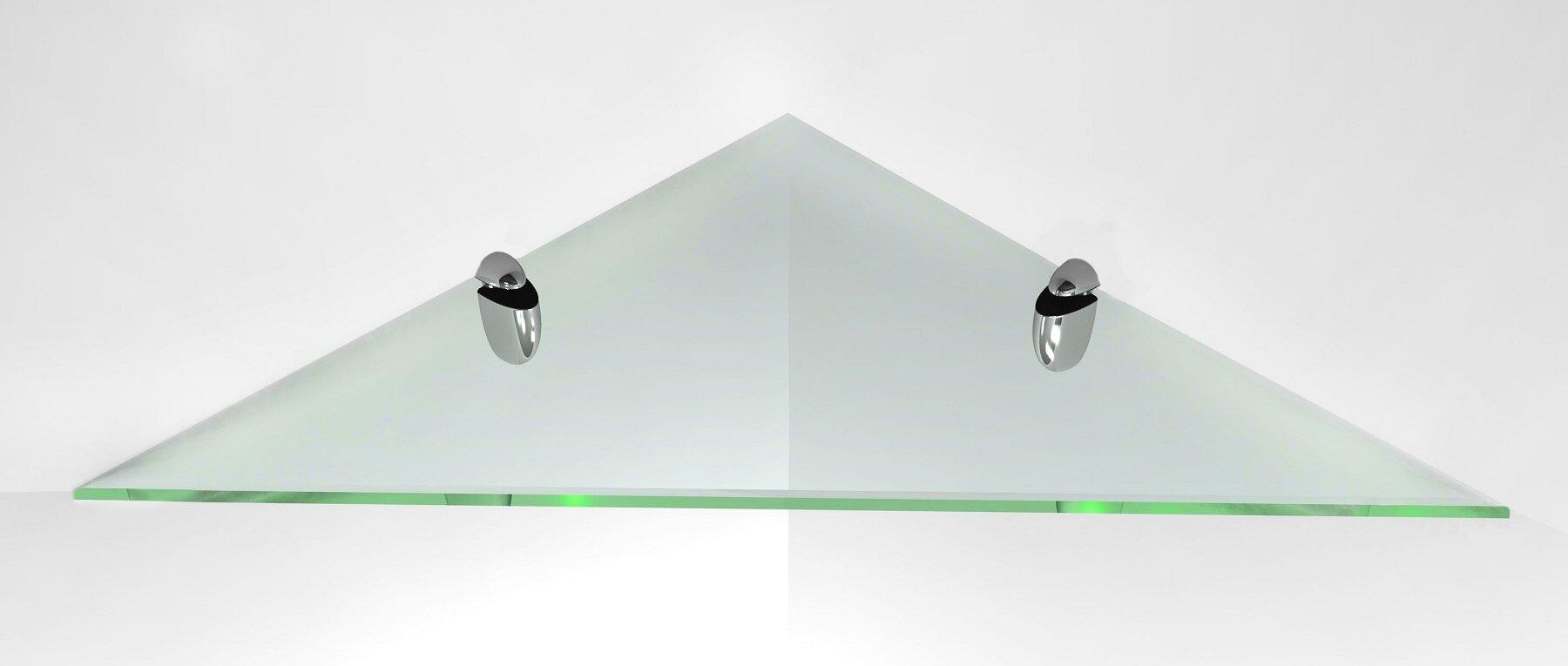 Fab Glass and Mirror Corner Glass Shelf Kit with Chrome Brackets ...