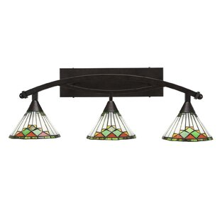 Astoria Grand Austinburg 3-Light Green Sunray Tiffany Glass Shade Vanity Light