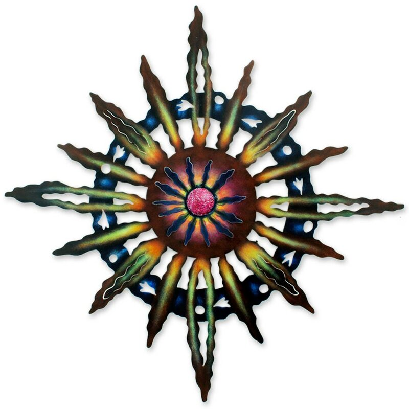Novica Psychedelic Sun Hand Crafted Steel Wall D 233 Cor