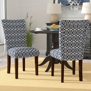 Zariyah Parsons Trellis Upholstered Dining Chair (Set of 2) Breakwater Bay