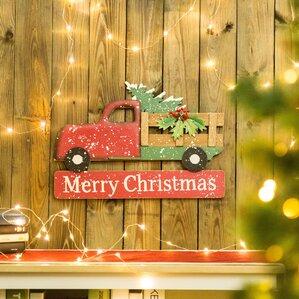 Iron/Wooden Christmas Truck Yard Garden Stake