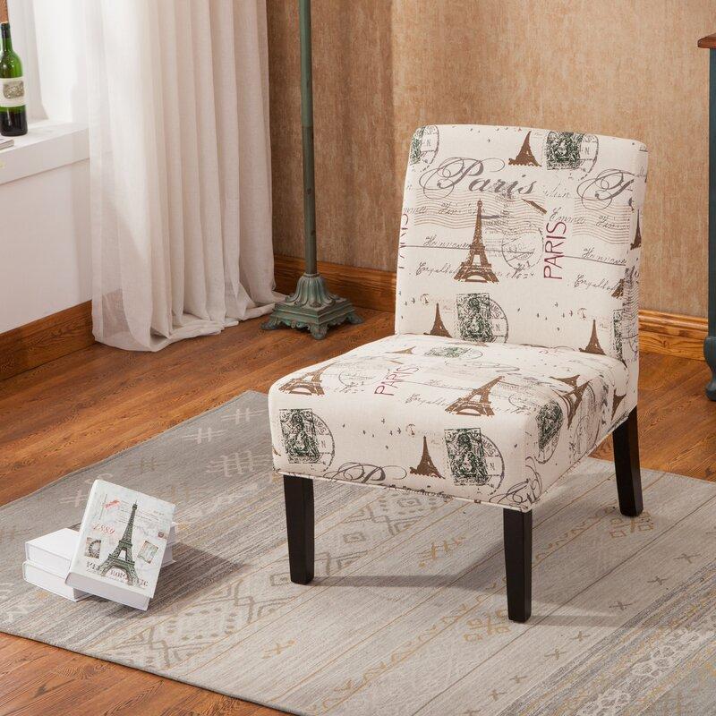 Goodale Script Linen Print Fabric Armless Oversize Slipper Chair