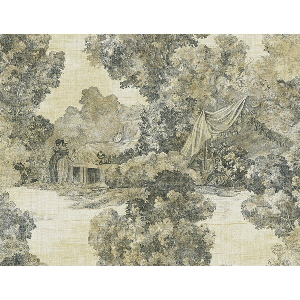 Photo Diane Scenic Toile 27' L x 27 W Metallic Wallpaper Roll by Ophelia & Co.
