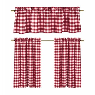 Fitzgibbon 3 Piece Kitchen Curtain Set (Set of 2) by August Grove