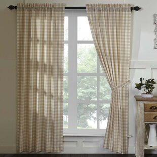 Tan Buffalo Check Curtains