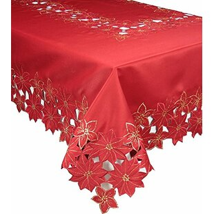 Festive Poinsettia Embroidered Cutwork Holiday Tablecloth