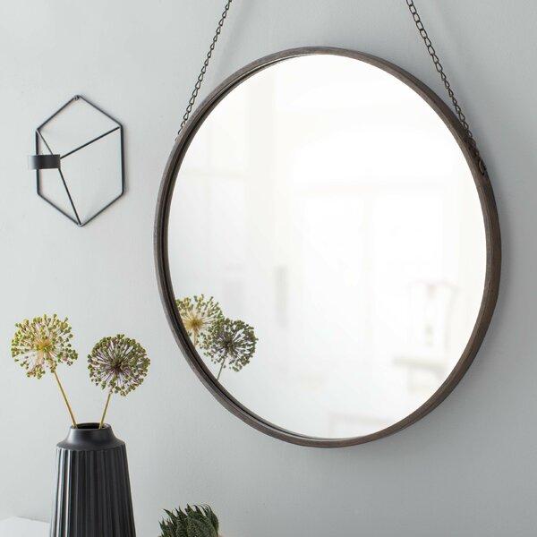 Three Posts Hardison Round Metal Mirror With Black Chain