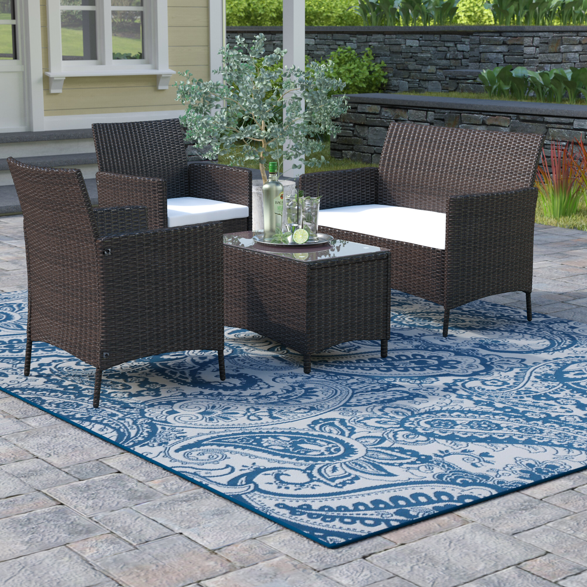 Winston Porter Avalon 4 Piece Rattan Sofa Seating Group with ...