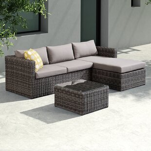 Carbone 3 Piece Rattan Sectional Set with Cushions