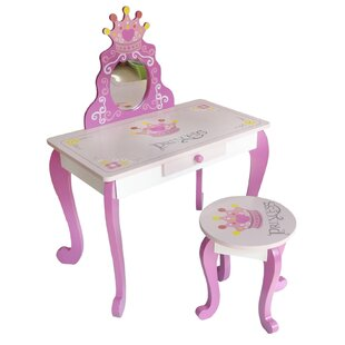 Dial Dressing Table Set With Mirror By Zoomie Kids