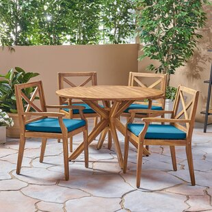Bungalow Rose Orellana Outdoor 5 Piece Dining Set with Cushions