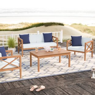 Delray 4 Piece Sofa Seating Group with Cushions by Beachcrest Home