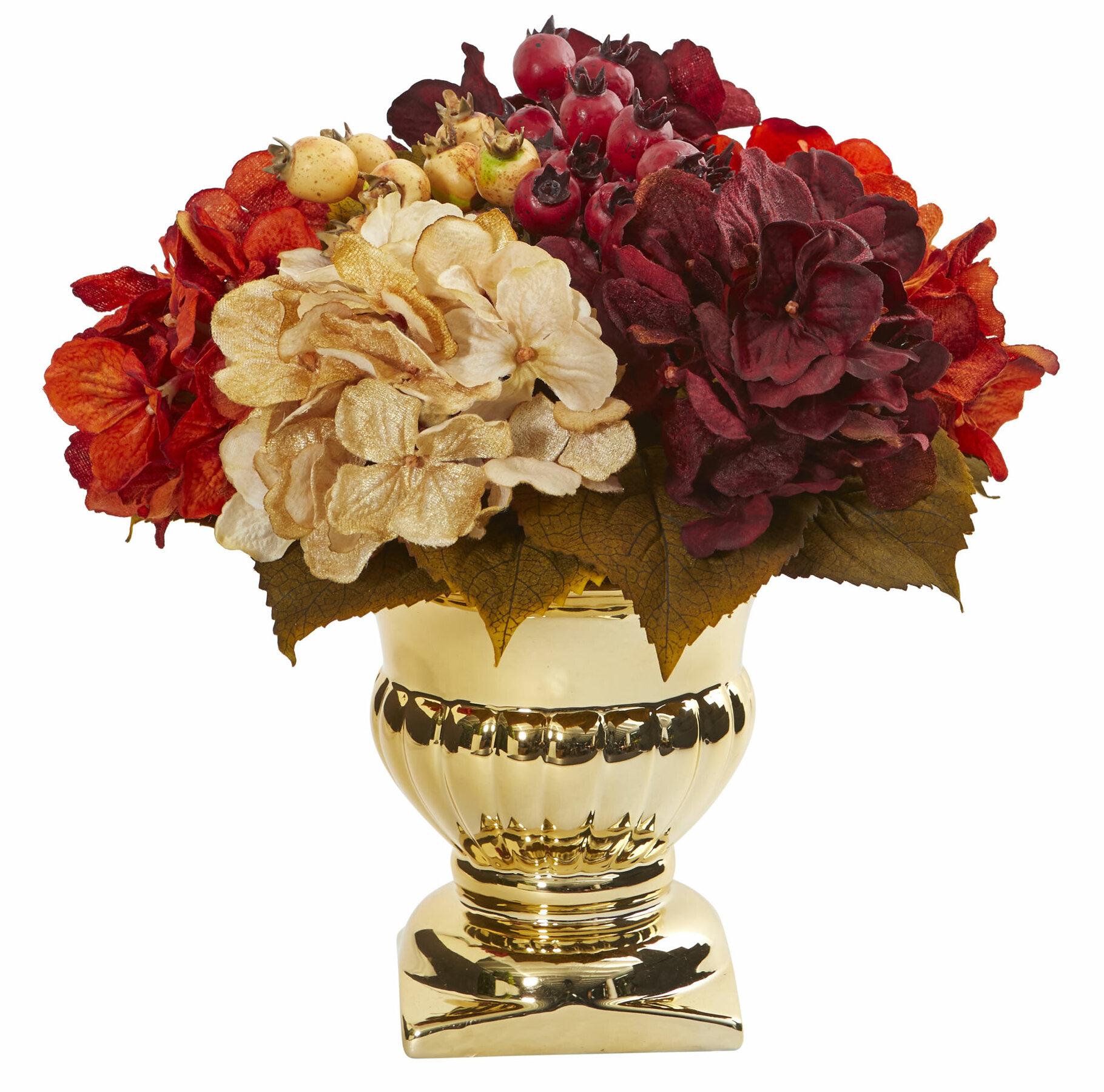 Fleur De Lis Living Artificial Hydrangea Centerpiece In Pot Wayfair
