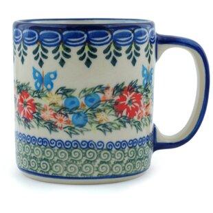 Red Cornflower and Blue Butterflies Coffee Mug
