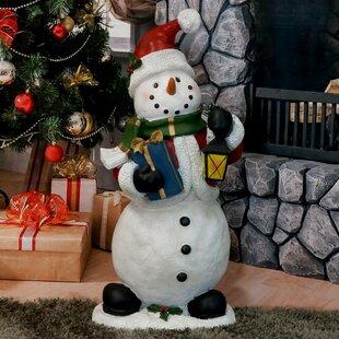 holly jolly snowman statue polyresin figurine - Snowman Christmas
