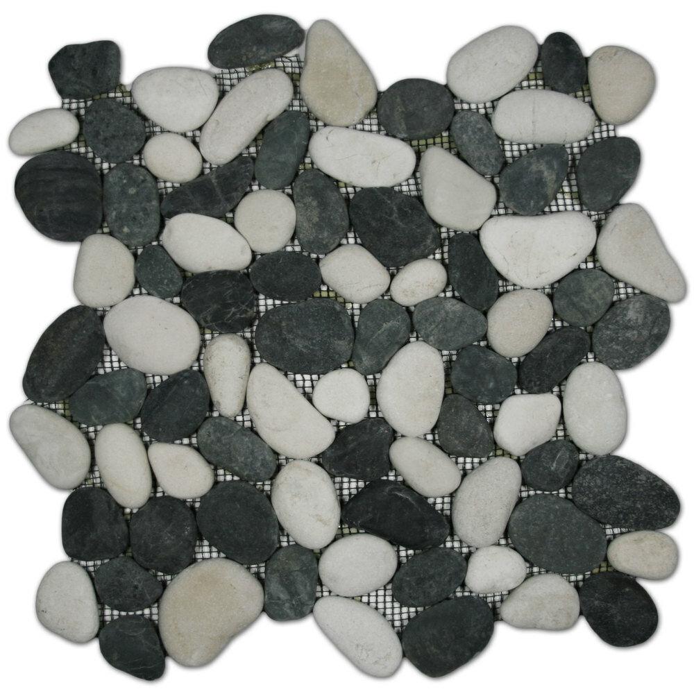 Cnktile Ottawa Random Sized Natural Stone Mosaic Tile In Black White Wayfair