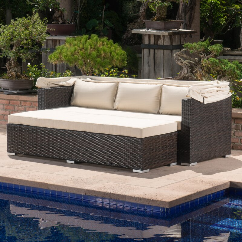 Outdoor Rattan brayden studio outdoor wicker daybed with cushions reviews