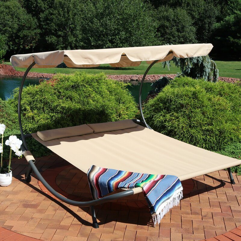 Ebern Designs Cartert Outdoor Double Chaise Lounge with ...