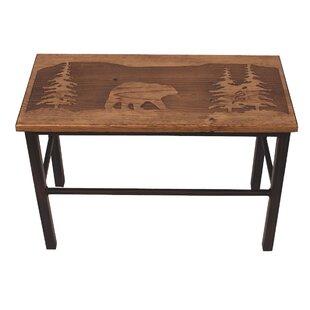 Loon Peak Hardwick Bear Scene Wood Bench