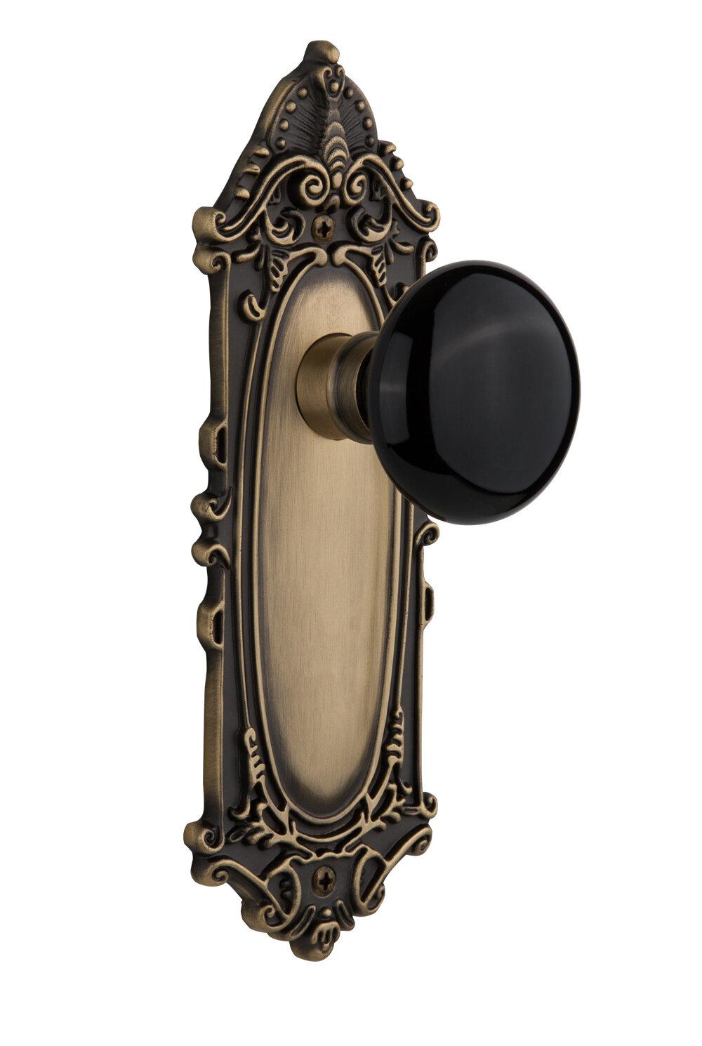 Black Porcelain Single Dummy Door Knob with Victorian Long Plate