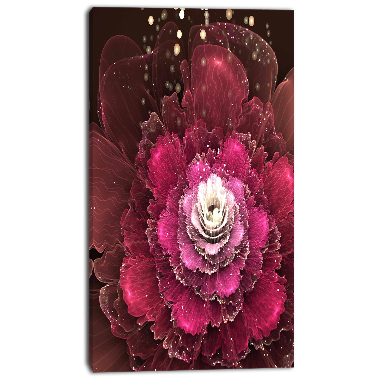 Designart Fractal Red Rose Flower Graphic Art On Wrapped Canvas Wayfair