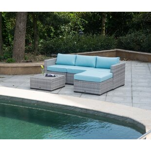 Mooney Outdoor 5 Piece Rattan Sectional Seating Group with Cushions