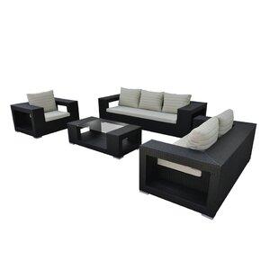 Agujero 4 Piece Rattan Sofa Set with Cushions