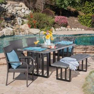 Rosecliff Heights Yowell Outdoor 6 Piece Dining Set