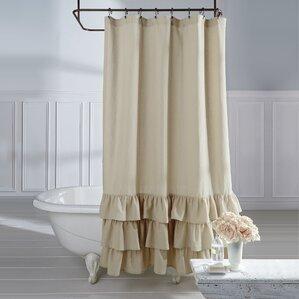 stephania vintage ruffle linen shower curtain