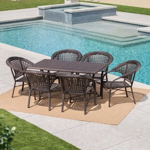 Trajkova Outdoor 7 Piece Wicker Dining Set