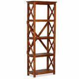 Bustos Solid Acacia Etagere Bookcase by Gracie Oaks