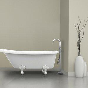 Prima Single Handle Floor Mount Bathtub Faucet with Shower Wand