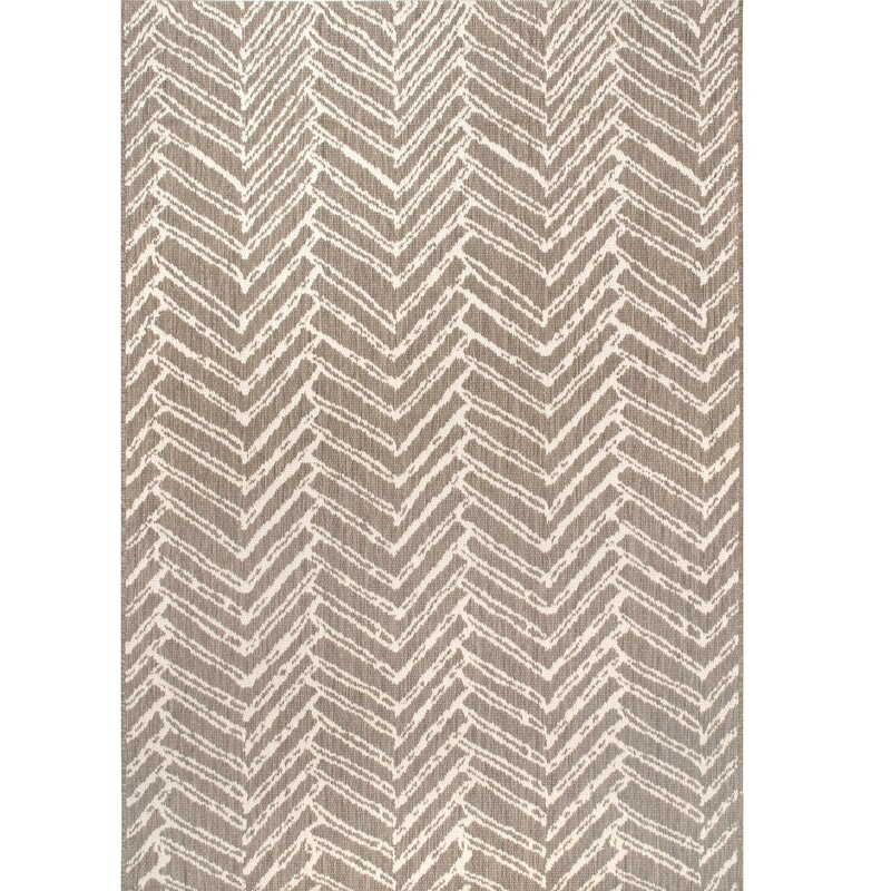 Corrigan Studio Worthing Chevron Brown Indoor Outdoor Use Area Rug Wayfair
