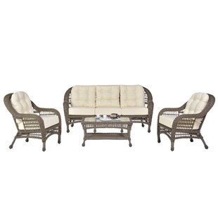 Panama Jack Outdoor Carolina Beach 4 Piece Sunbrella Sofa Set with Cushions