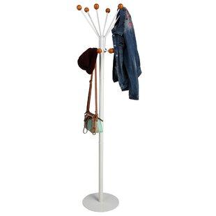 Mind Reader Free Standing 12 Hook Wooden Ball Edged Coat Rack