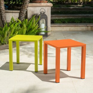 Fennia Outdoor Aluminum End Table (Set of 2)