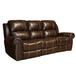Deloatch Leather Reclining Sofa Darby Home Co